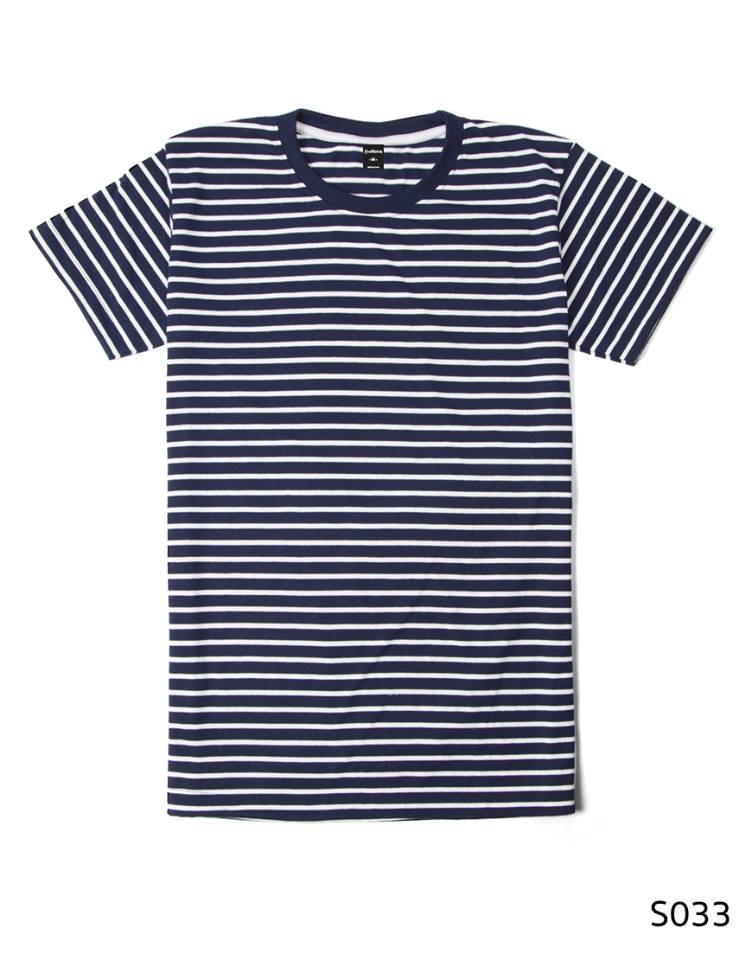 เสื้อยืดคอกลมลายทาง S033 (สีกรม)