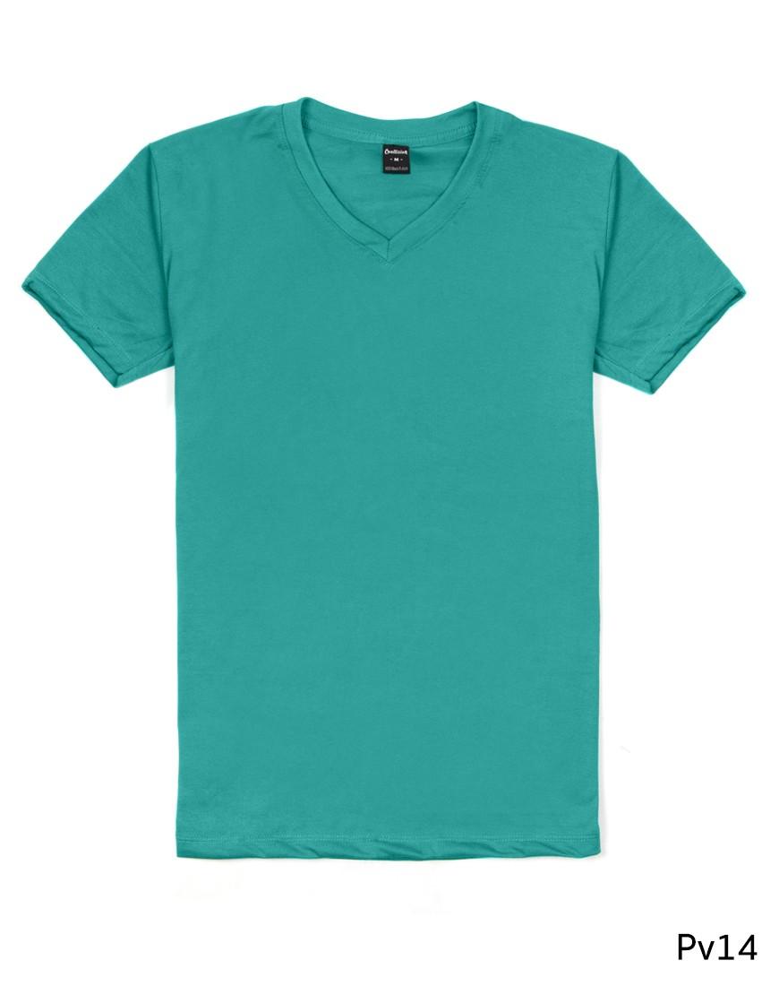เสื้อยืดคอวีเรียบ Pv14 สีเขียวมรกต