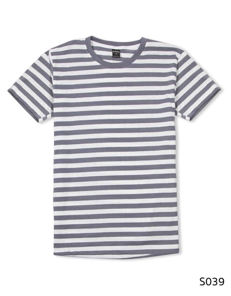 เสื้อยืดคอกลมลายทาง S039 (สีขาวเทา)
