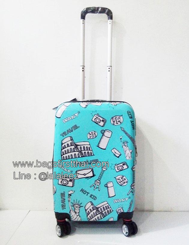กระเป๋าเดินทาง PC คุณภาพดี ลายหอไอเฟลพื้นสีฟ้า ขนาด 20 นิ้ว