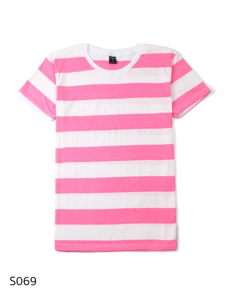 เสื้อยืดคอกลมลายทาง S069 (สีชมพูนมเย็น ริ้วใหญ่)