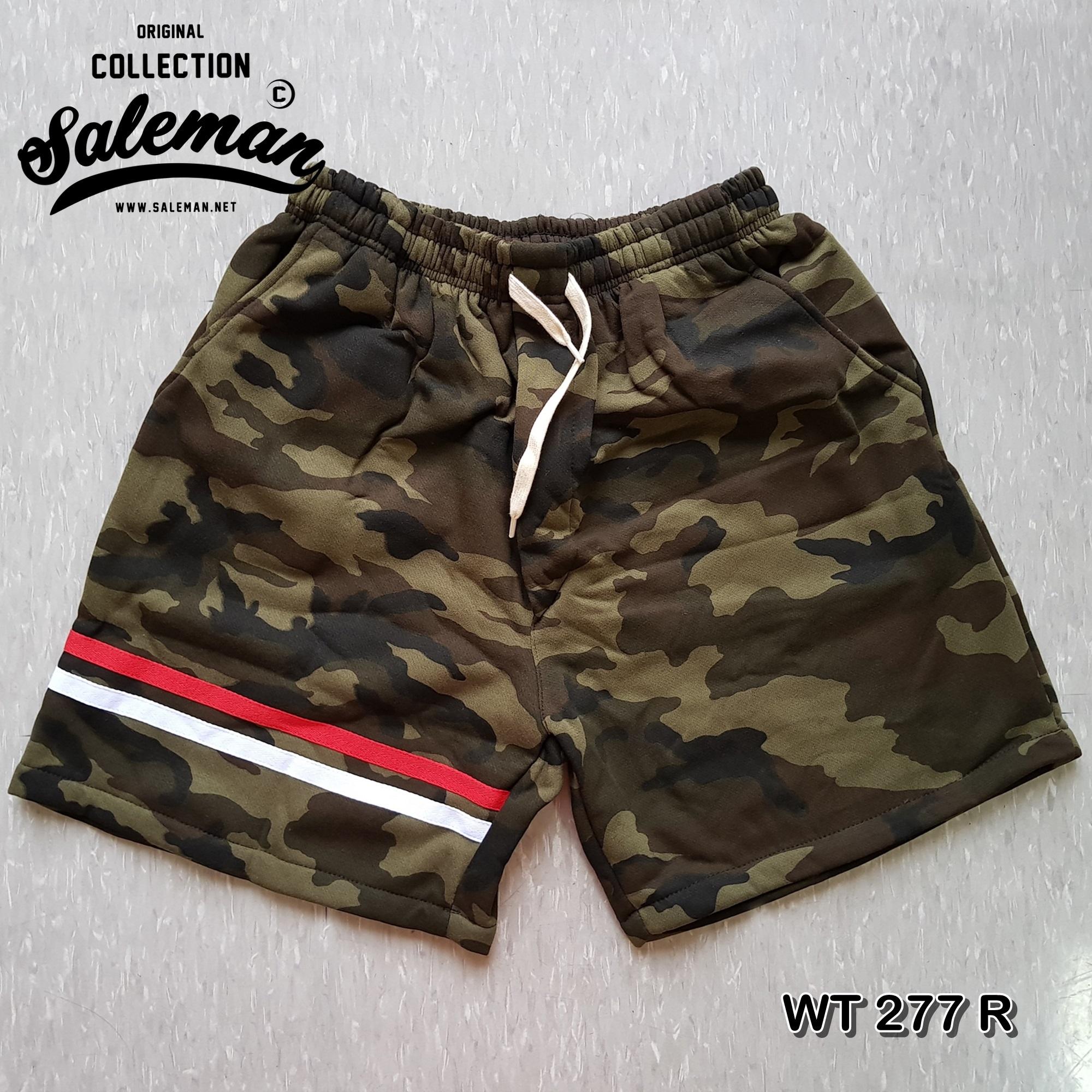 กางเกงขาสั้น พรีเมี่ยม ผ้าวอร์ม รหัส WT 277 R สีทหาร แถบ แดง