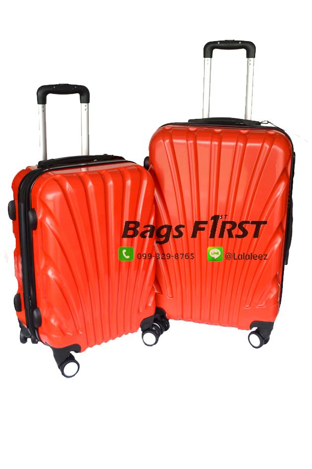 """กระเป๋าเดินทางล้อลาก เนื้อ PC สีแดง ขนาด 24 """""""
