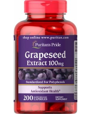 Puritan's Pride Grapeseed Extract 100 mg. 200 เม็ด อุดมไปด้วยวิตามิน A และสารต้านอนุมูลอิสระมากมาย จากอเมริกาค่ะ