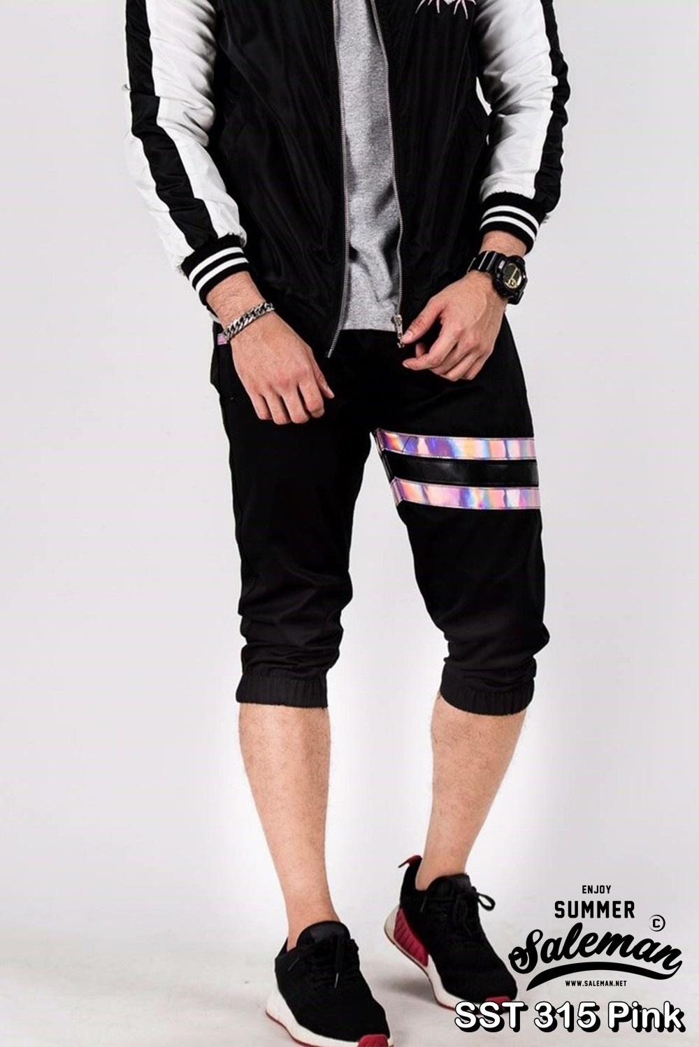 กางเกงสามส่วน พรีเมี่ยม ผ้า COTTON รหัส SST 315 Pink สีดำ แถบชมพู SUMMER SALE