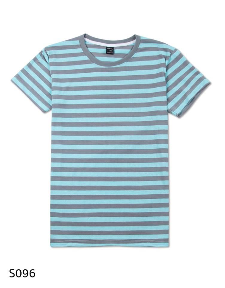 เสื้อยืดคอกลมลายทาง S096 (สีเทาฟ้าอ่อนพาสเทลริ้วเล็ก)