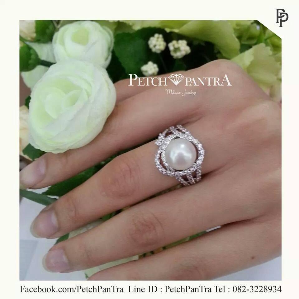 แหวนเพชรCZ แหวนเพชรรัสเซีย ประดับมุกแท้