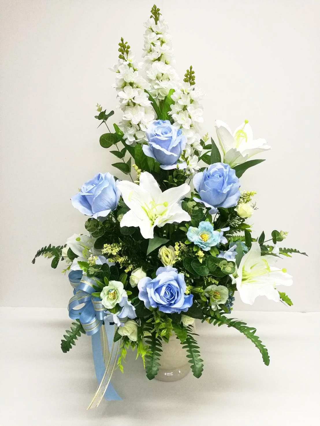 แจกันดอกไม้ประดิษฐ์กุหลาบฟ้าใหญ่ รหัส 3083