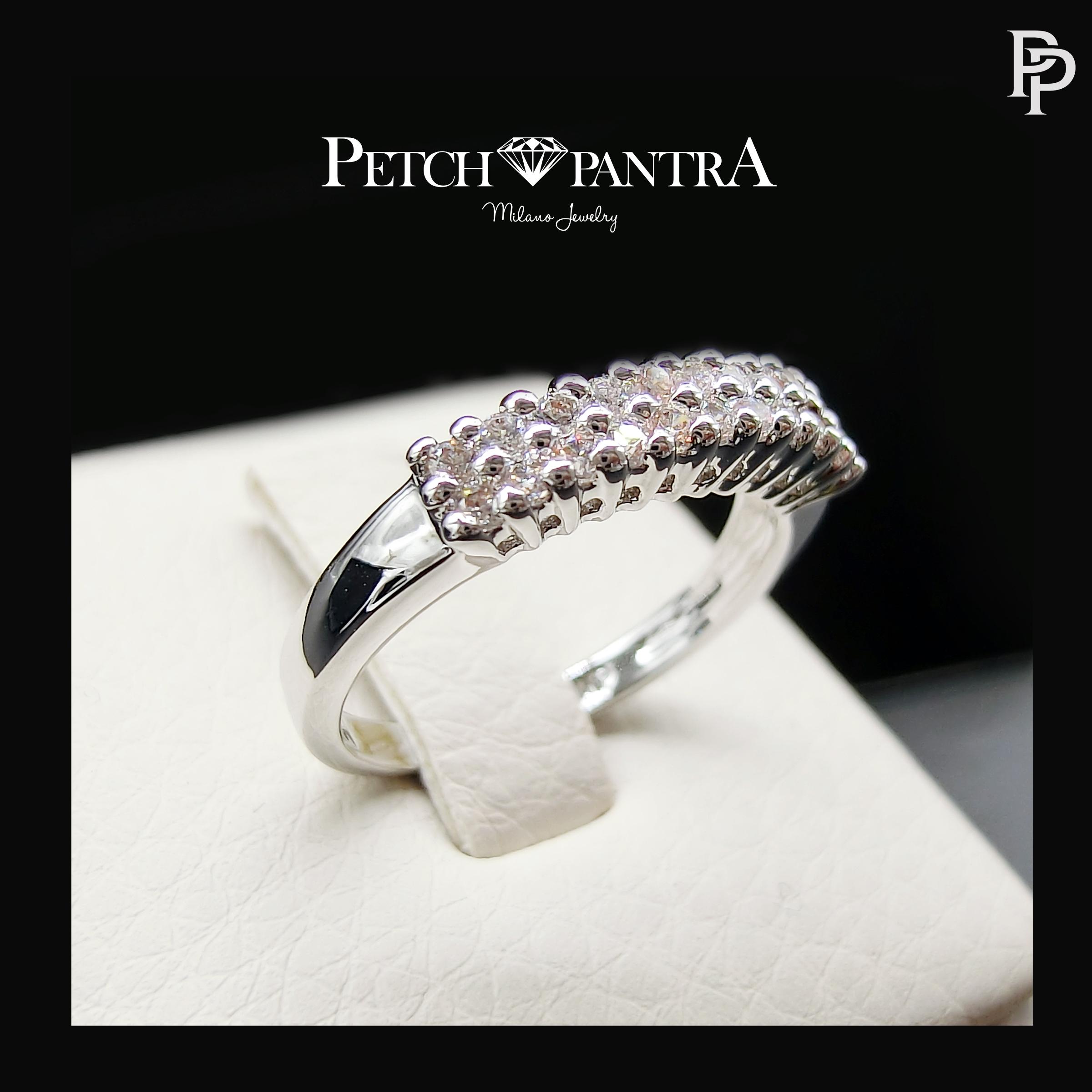 แหวนเพชรCZ แหวนเพชรครึ่งวงเตย สำเนา