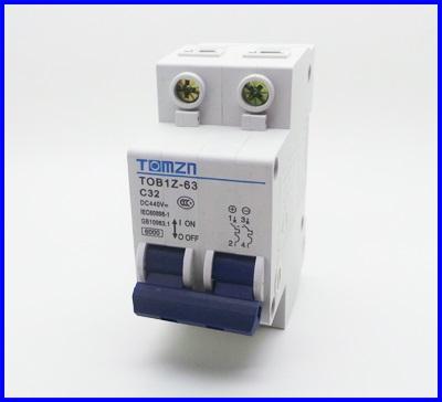 เซอร์กิตเบรกเกอร์ อุปกรณ์ป้องกันไฟฟ้า เบรกเกอร์ป้องกันไฟช๊อต2P 32A DC 440V Circuit breaker MCB