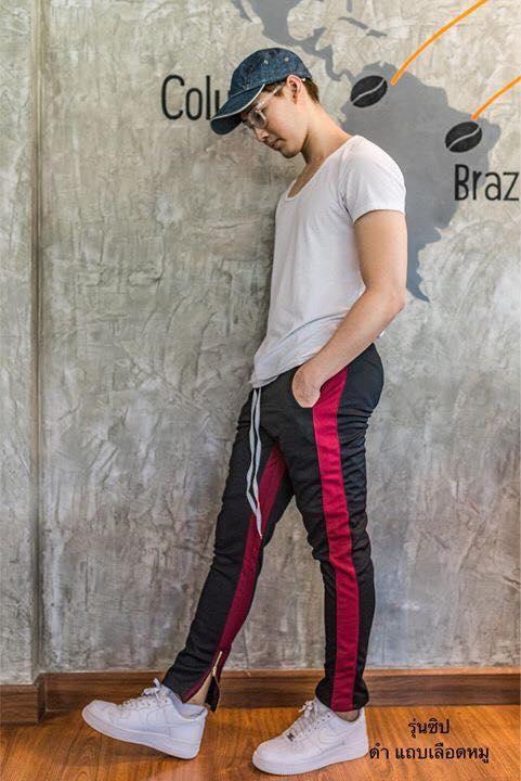 กางเกง ขายาว พรีเมี่ยม ผ้า วอม รหัส W 615 TAX R ดำแถบแดง