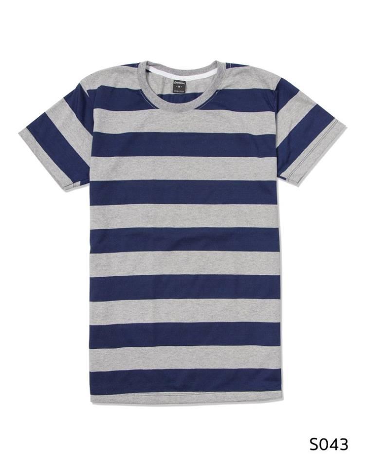 เสื้อยืดคอกลมลายทาง S043 (สีเทากรมท่าริ้วใหญ่)