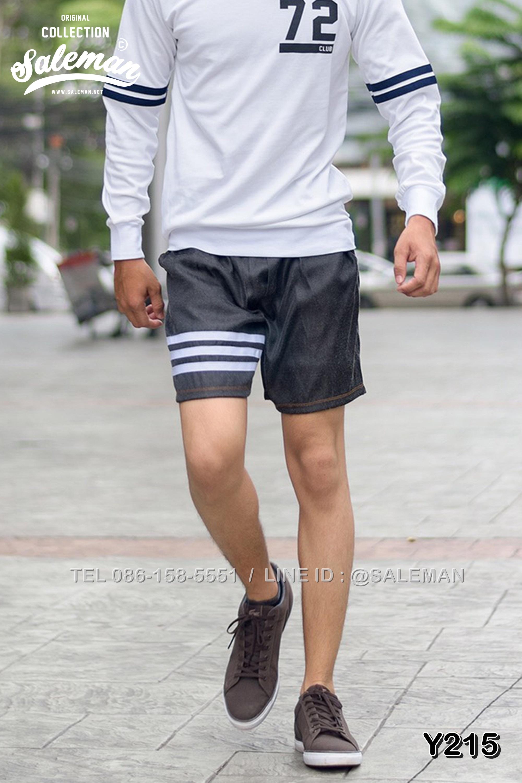 กางเกงขาสั้นยีนส์ Y210 ยีนส์เทาดำ