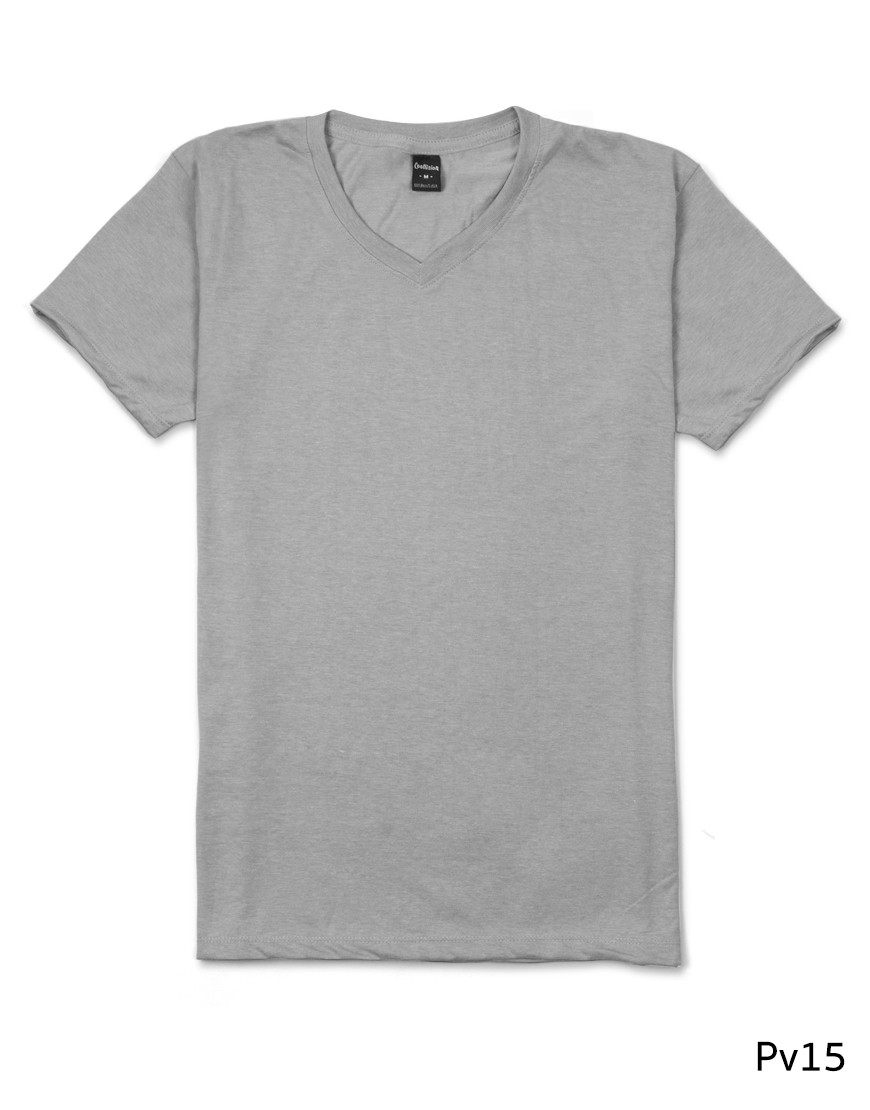 เสื้อยืดคอวีเรียบ Pv15 สีเทาเงิน