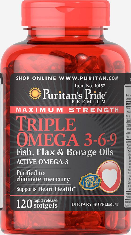 Puritan's Pride Triple Omega 3-6-9 Fish, Flax & Borage Oils 120 เม็ดจากอเมริกาค่ะ