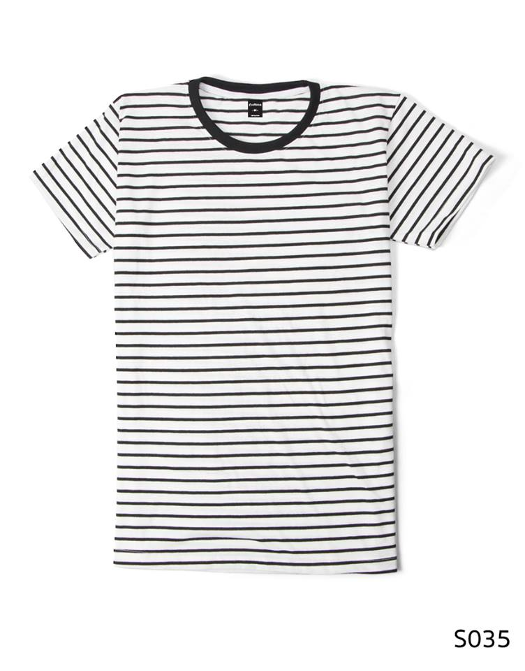เสื้อยืดคอกลมลายทาง S035 (สีขาวริ้วดำ)