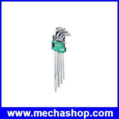 ประแจหกเหลี่ยมตัวแอล ประแจหกเหลี่ยม ชุดประแจหกเหลี่ยม 9ชิ้น Ballpoint HW-229BL ด้ามยาว (CN) PRO S KIT