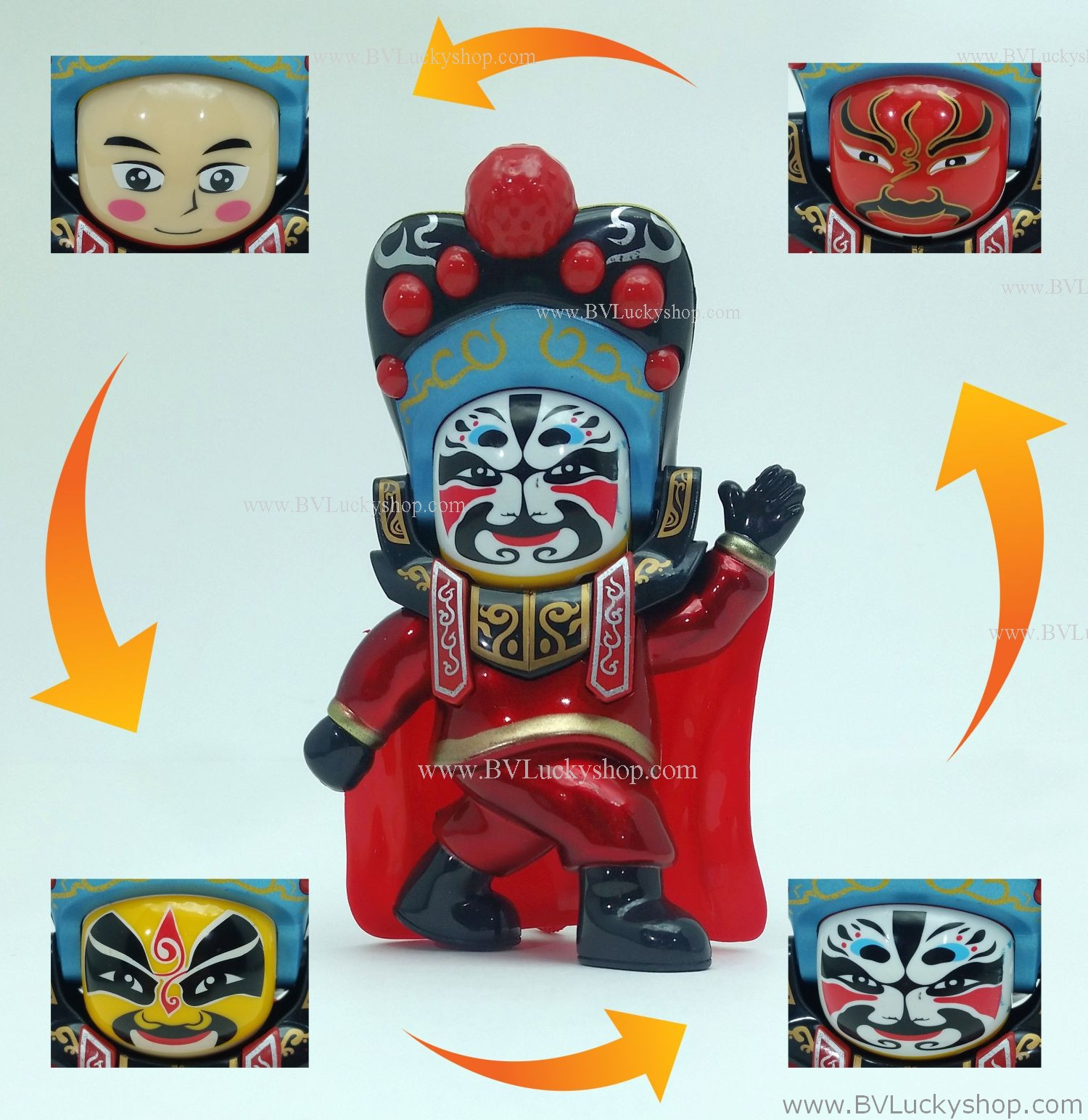 ตุ๊กตาจีน เปลี่ยนหน้ากากได้ (มี 4 หน้า) - สีแดง