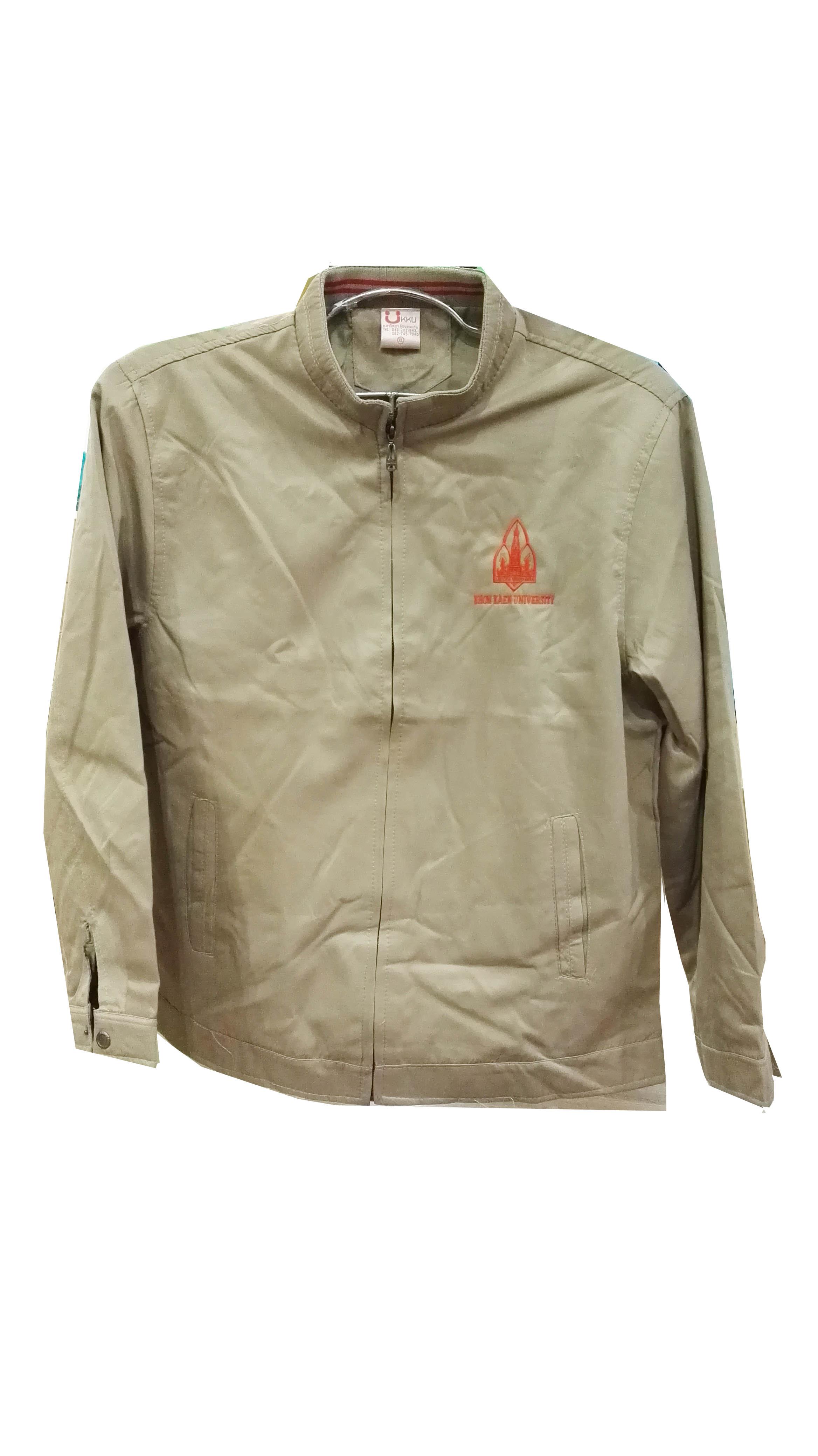 เสื้อแจ็คเก็ตคอจีนสีน้ำตาล Size XL