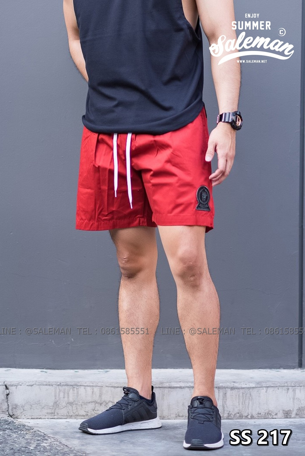 กางเกงขาสั้น พรีเมี่ยม ผ้า COTTON รหัส SS 217 สีแดง