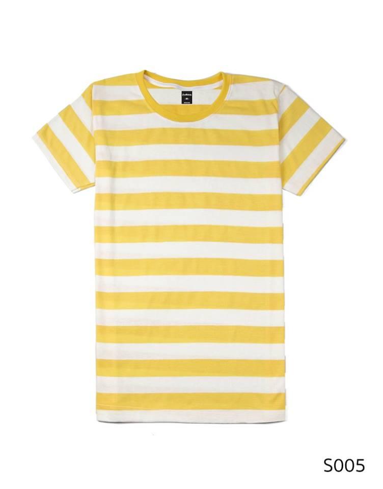 เสื้อยืดคอกลมลายทาง ริ้ว1นิ้ว S005 (สีเหลือง)