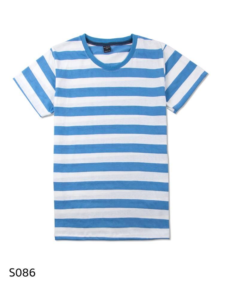 เสื้อยืดคอกลมลายทาง S086 (สีขาวฟ้าแจ่ม)