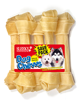 ขนมขัดฟันสุนัข SLEEKY หนังวัวขัดฟันหมารูปกระดูกผูก ขนาด 7 นิ้ว - แพ็คใหญ่