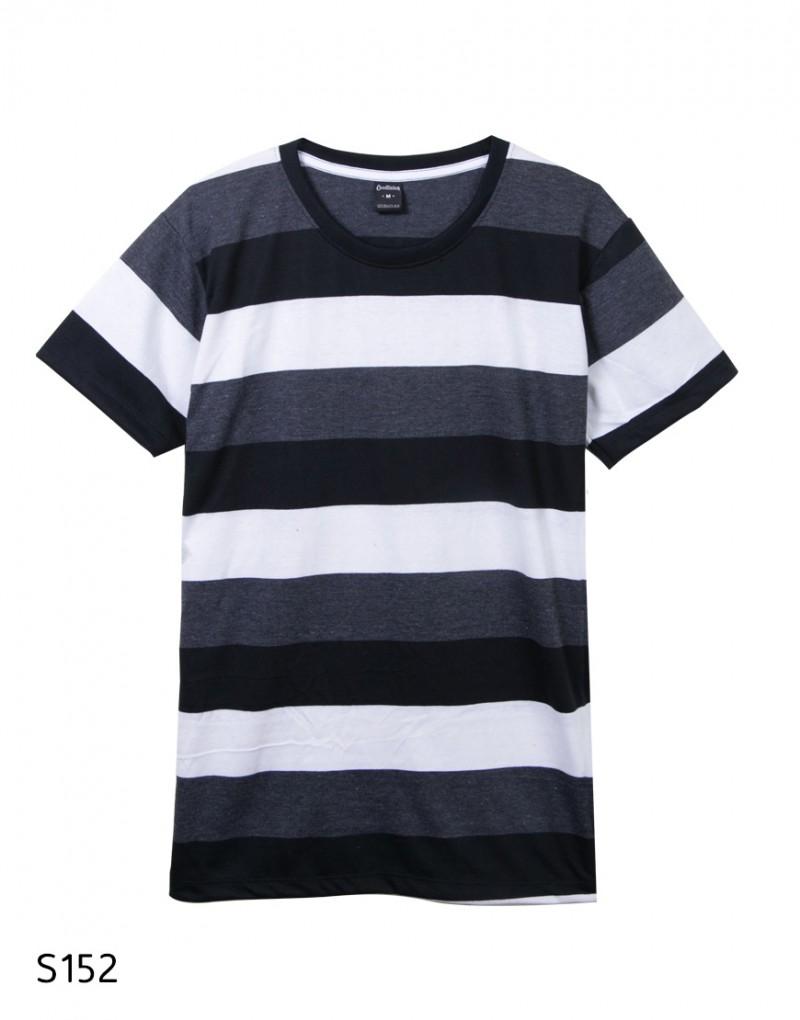 เสื้อยืดคอกลมลายทาง S152 (สีเทาดำขาว)