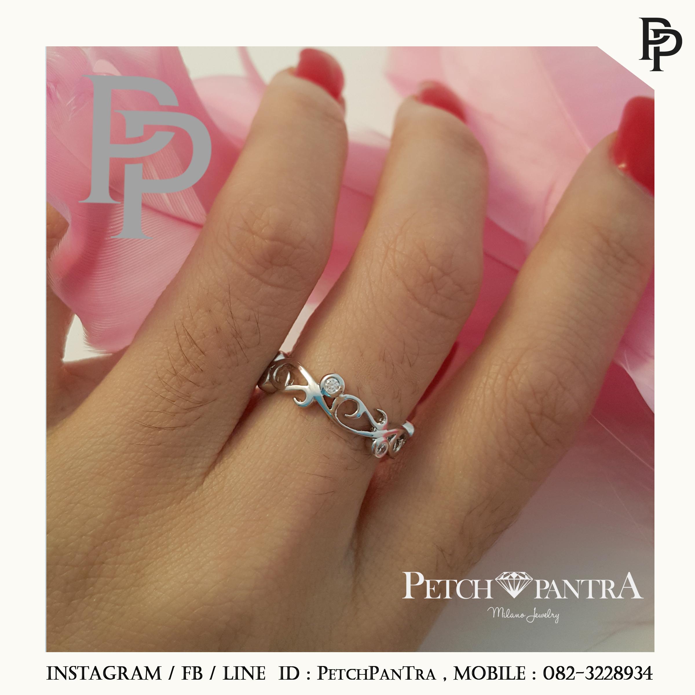 แหวนเพชรCZ แหวนเพชรรัสเซีย แหวนเถาวัลย์ส่งเสริมเรื่องความรัก สำเนา