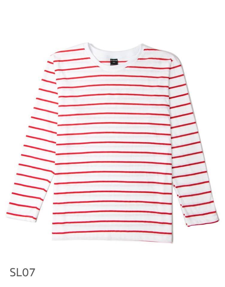 SL07 เสื้อยืดแขนยาวลายทาง พื้นขาวริ้วแดง