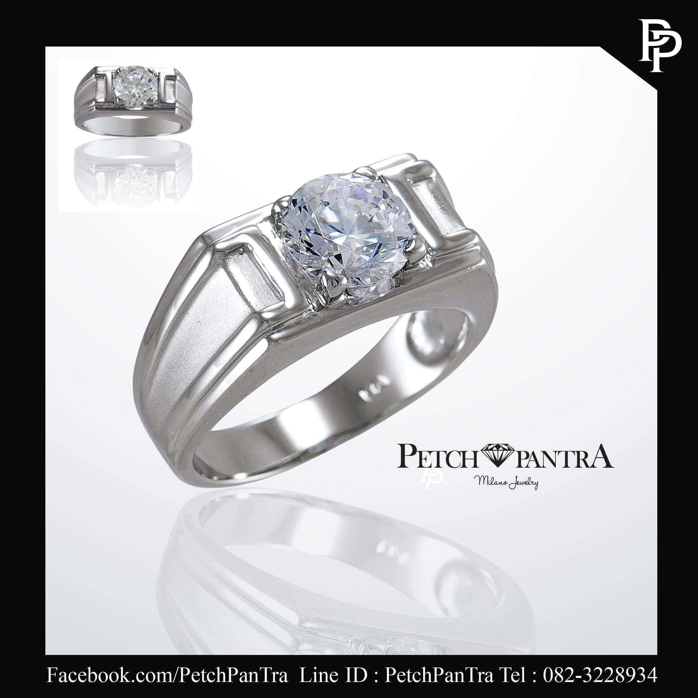 แหวนเพชรCZ แหวนเพชรรัสเซีย ผู้ชายเม็ดกลาง 3 กะรัต