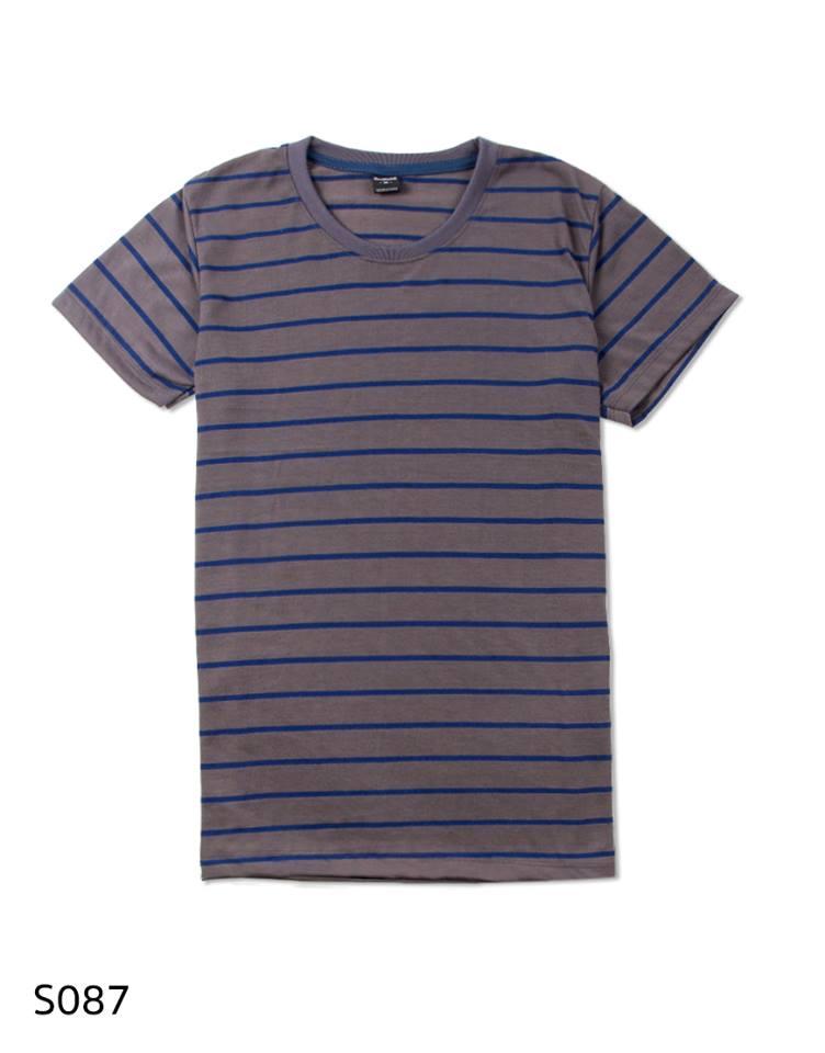 เสื้อยืดคอกลมลายทาง S087 (สีน้ำตาลใหญ่ น้ำเงินเล็ก)