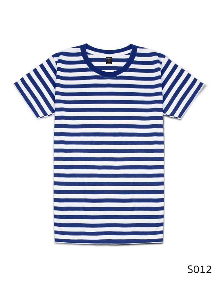 เสื้อยืดคอกลมลายทาง ริ้ว1เซนติเมตร S012 (สีน้ำเงิน)