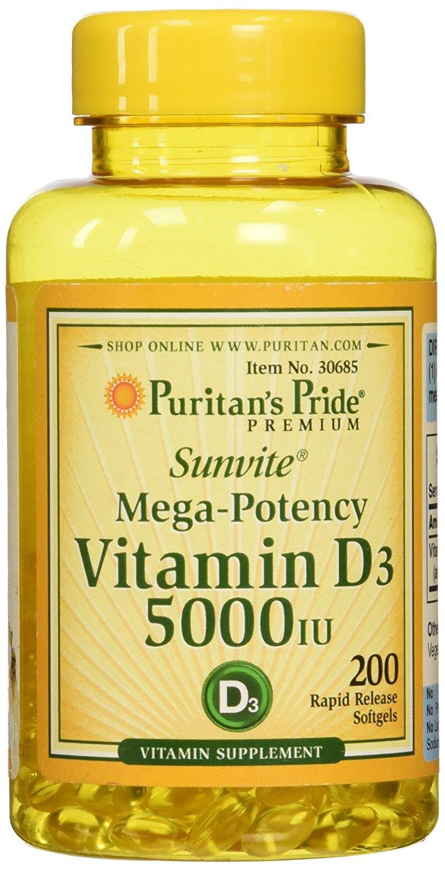 Puritan's Pride Vitamin D3 5000 IU 200 softgels วิตามินดี ขนาด 200 เม็ด จากอเมริกาค่ะ