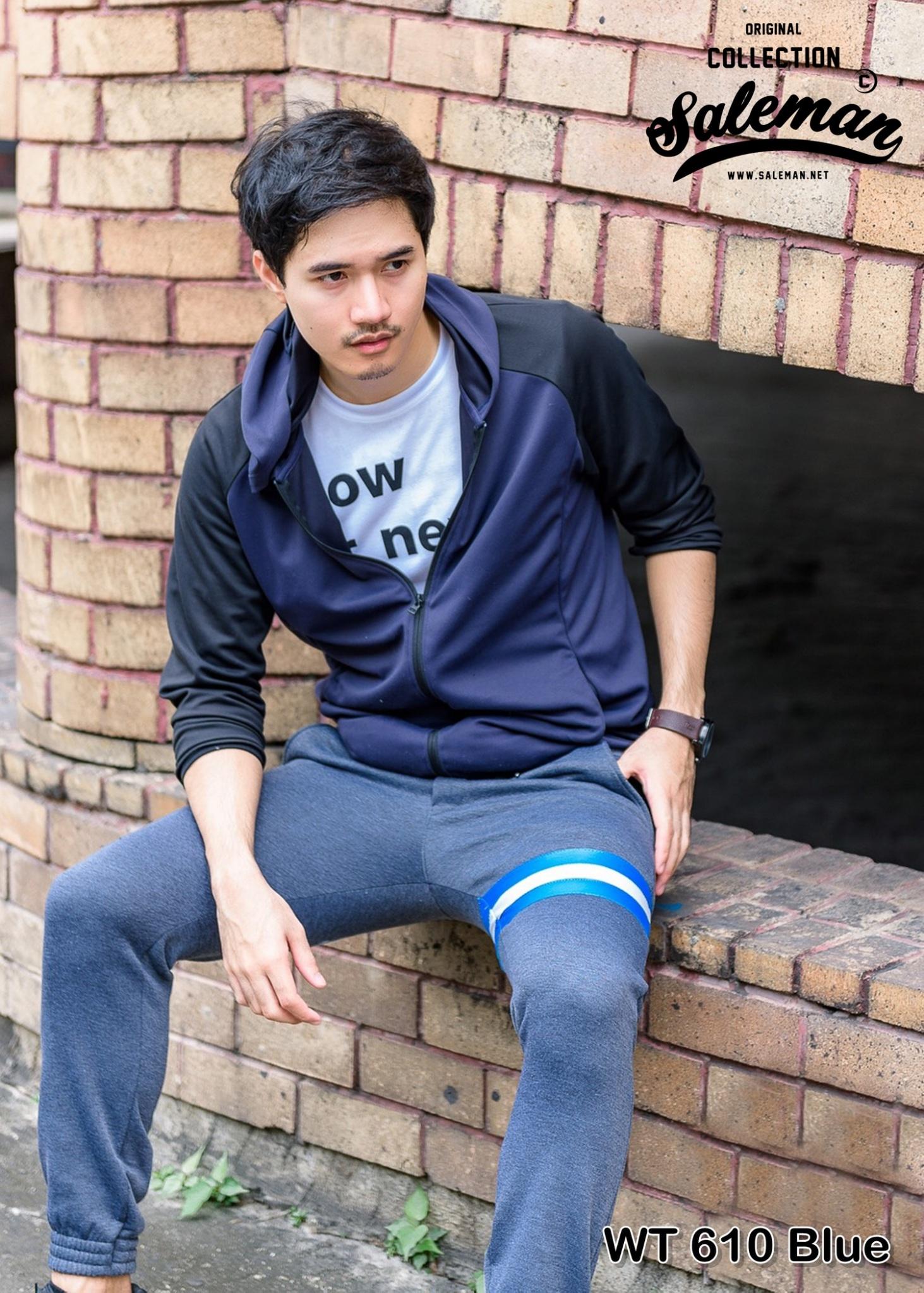 กางเกง JOGGER พรีเมี่ยม ผ้าวอร์ม รหัส WT 610 Blue สีเทาเข้ม แถบฟ้า