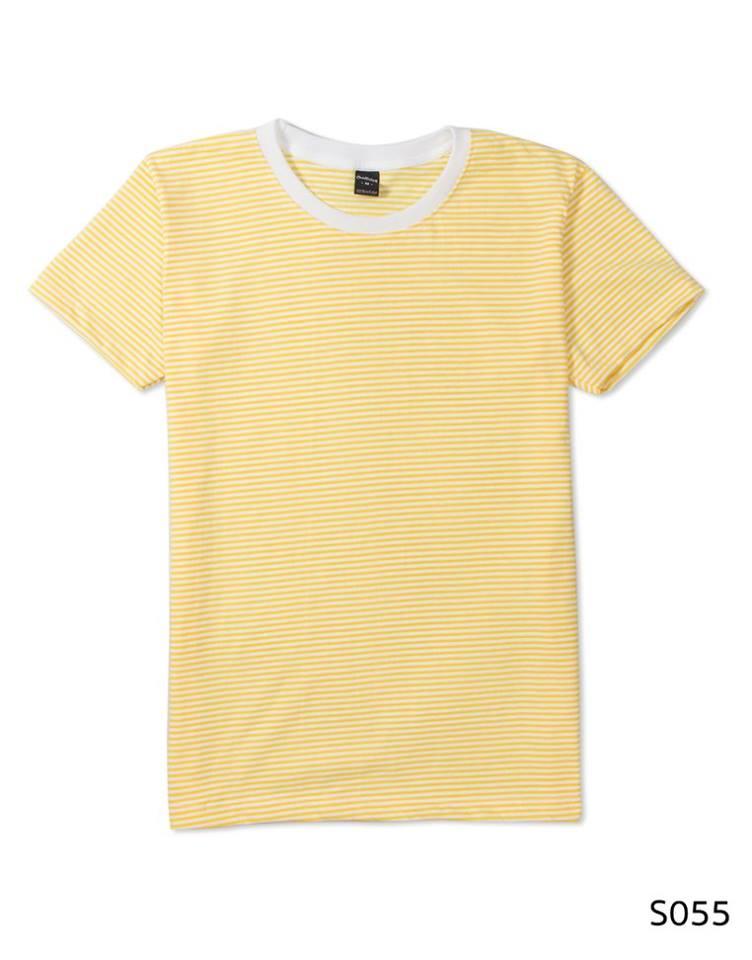 เสื้อยืดคอกลมลายทาง S055 (สีเหลืองเล็ก คอสีขาว)