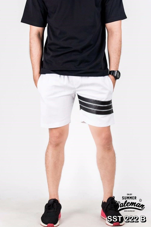 กางเกงขาสั้น พรีเมี่ยม ผ้า COTTON รหัส SST 222 B สีขาว แถบดำ