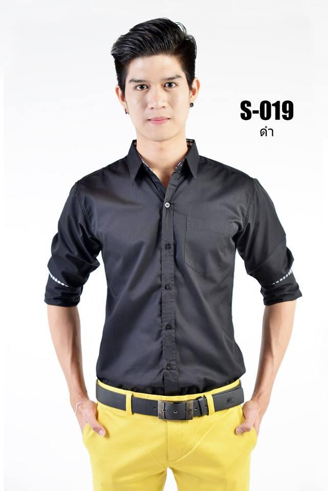 เสื้อเชิ้ตผู้ชายสีดำ S-019