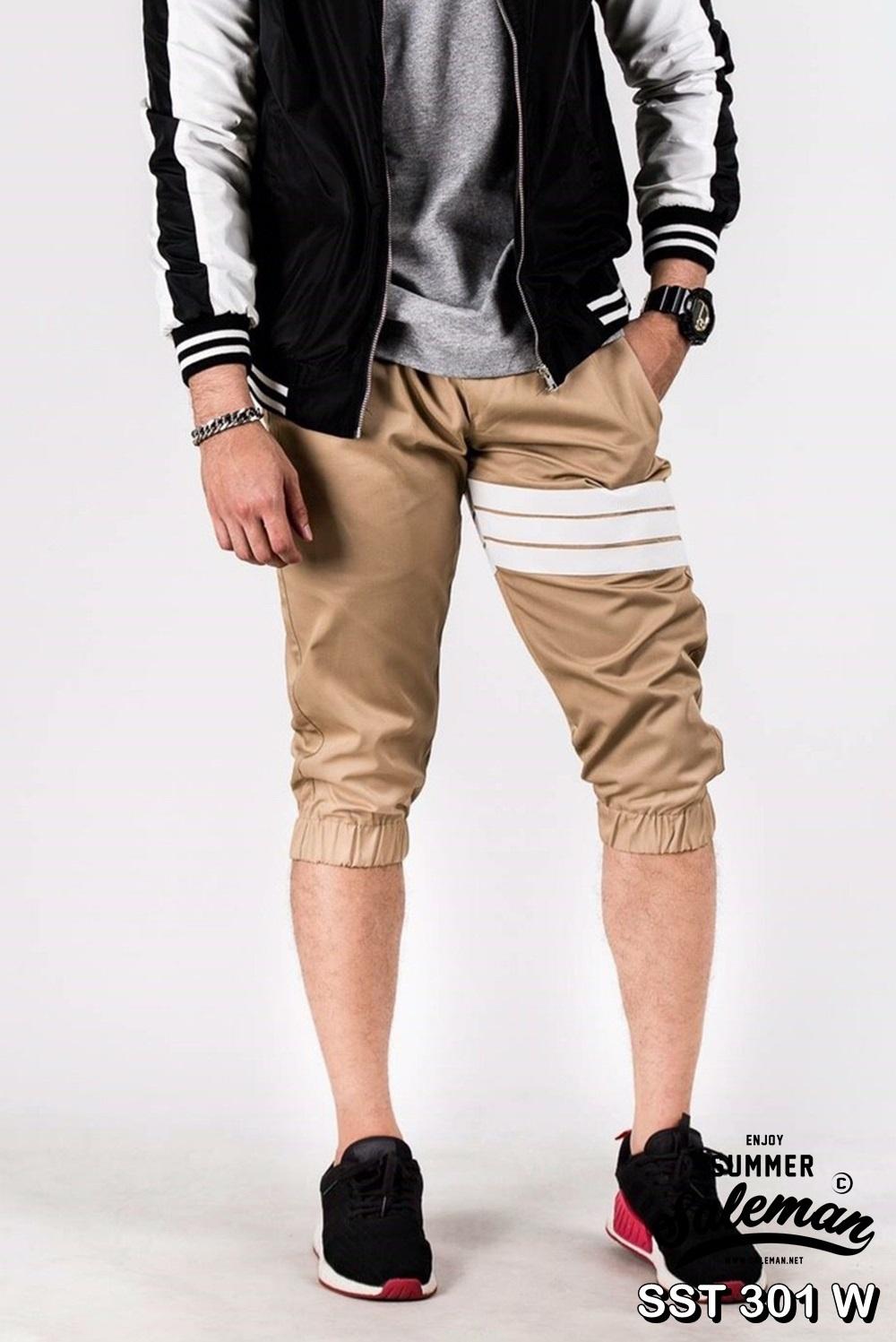 กางเกงสามส่วน พรีเมี่ยม ผ้า COTTON รหัส SST 301 W สีครีม แถบขาว SUMMER SALE