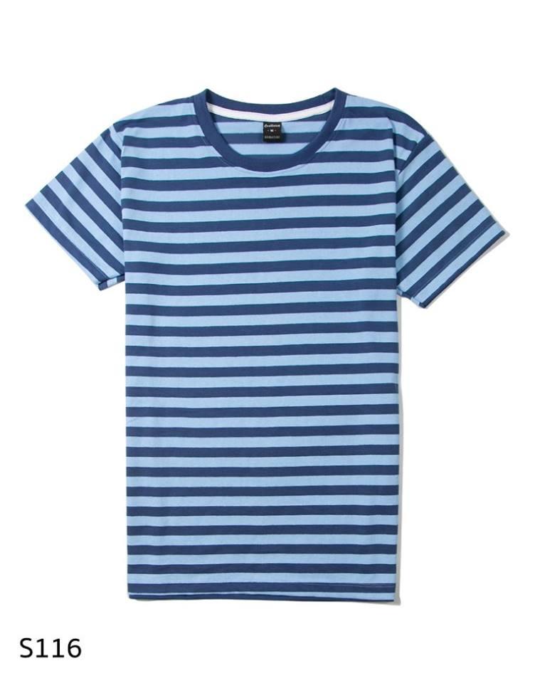 เสื้อยืดคอกลมลายทาง S116 (ครึ่งนิ้ว สีฟ้ากรม)