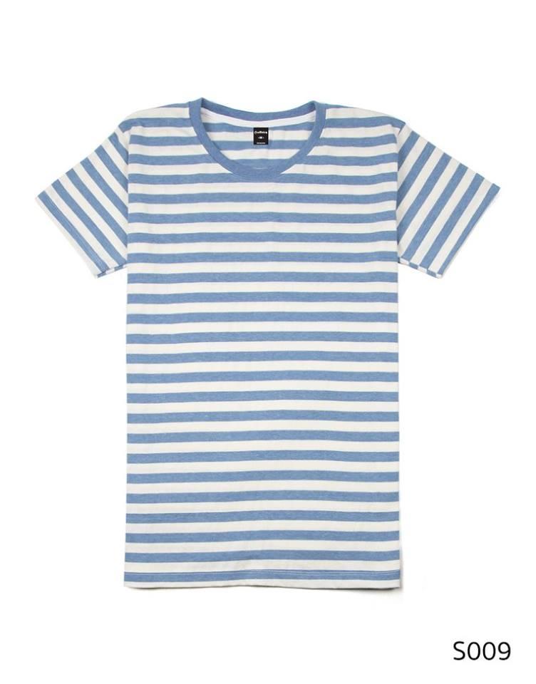 เสื้อยืดคอกลมลายทาง ริ้ว1เซนติเมตร S009 (สีฟ้าฟอก)