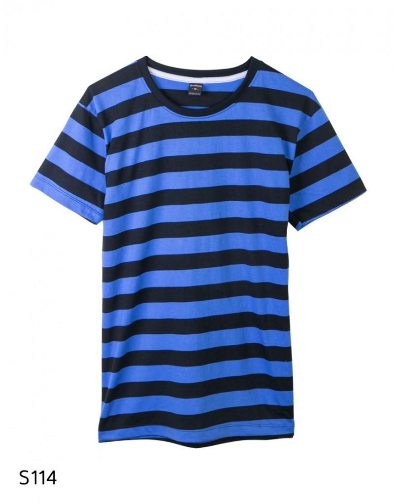 เสื้อยืดคอกลมลายทาง S114 (สีดำสลับน้ำเงิน)