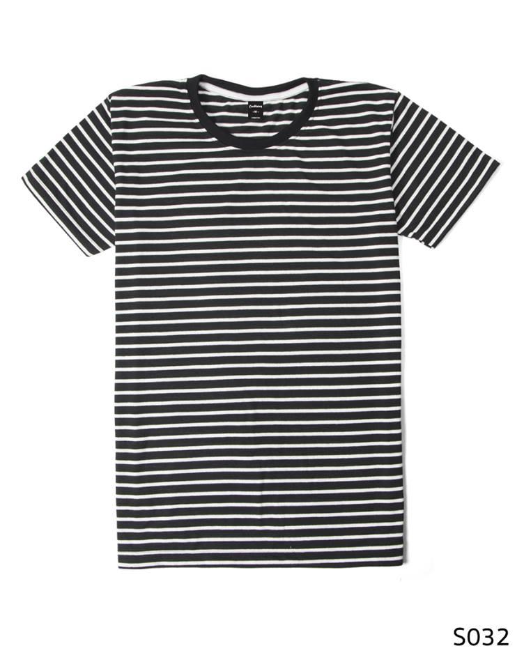 เสื้อยืดคอกลมลายทาง S032 (สีดำ)