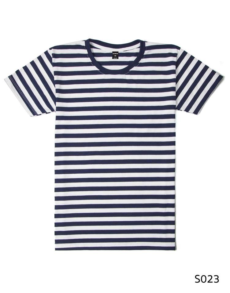 เสื้อยืดคอกลมลายทางครึ่งนิ้ว S023 (สีขาวกรม)