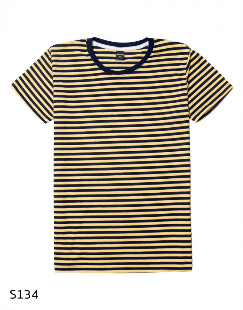 เสื้อยืดคอกลมลายทาง S134 (สีเหลืองสลับกรมท่า)