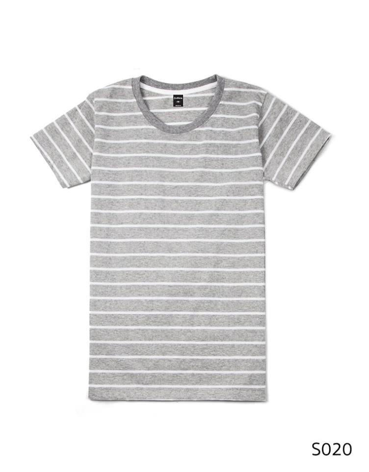 เสื้อยืดคอกลมลายทาง S020 (สีพื้นเทาริ้วขาว)