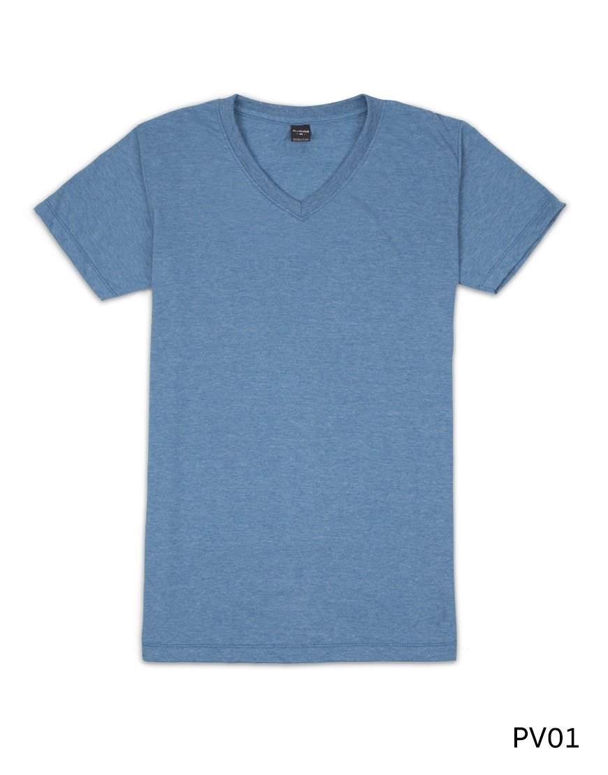 เสื้อยืดคอวีเรียบ Pv01 สีน้ำเงินฟอก