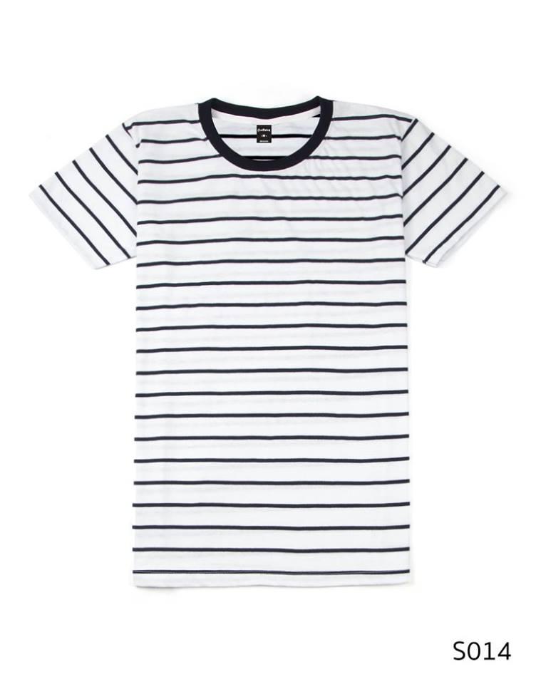 เสื้อยืดคอกลมลายทาง S014 (สีพื้นขาวริ้วดำ)