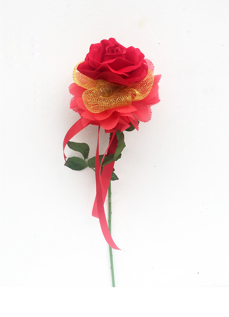 ช่อดอกไม้ประดิษฐ์กุหลาบแดง 1 ดอก รหัส 4201