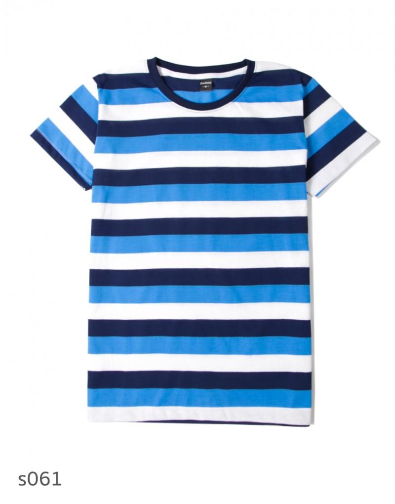 เสื้อยืดคอกลมลายทาง S061 (สีฟ้าขาว มินิมอล)